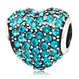 Heart with Paved Crystal Birthstone 925 Sterling Silver Charm Bead Fits Pandora Charms Jewelry