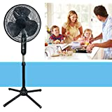 Electric Fan Oscillating Quiet Adjustable 3 Speed Black Stand Pedestal Floor Standing Height 16-Inch