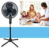SD Oscillating Pedestal 16-Inch Stand Fan Quiet Adjustable 3 Speed, Black