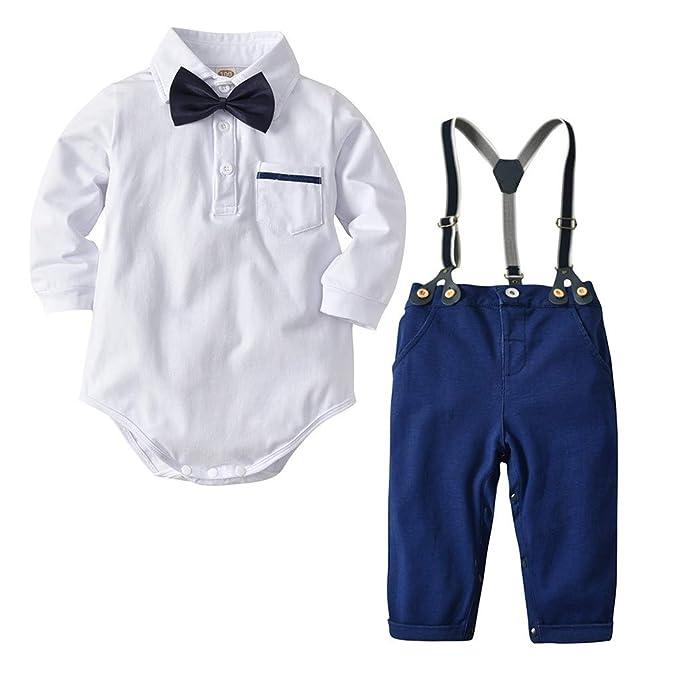 Malloom Ropa Bebé niño, Mameluco de Ha Yi + Pantalones de Tiras + Corbata de Lazo Traje de Tres Piezas Ropa Conjuntos 3-24 Mes: Amazon.es: Ropa y accesorios