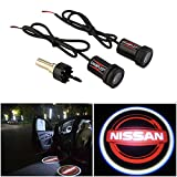 CHAMPLED For NISSAN RED Laser Projector Logo Illuminated Emblem Step courtesy Light Lighting symbol sign Badge LED Glow Motorcycle Performance Tuning Accessory