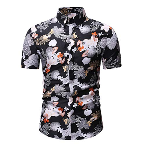 Shirts for Men, vermers Men's Fashion New Casual Printing Lapel Camouflage Short Sleeve Tops Shirt(M, Black) ()