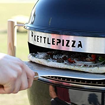 Made in USA KettlePizza Deluxe USA Pizza Oven Kit for Kettle Grills – Includes Stone and Metal Peel, KPDU-22