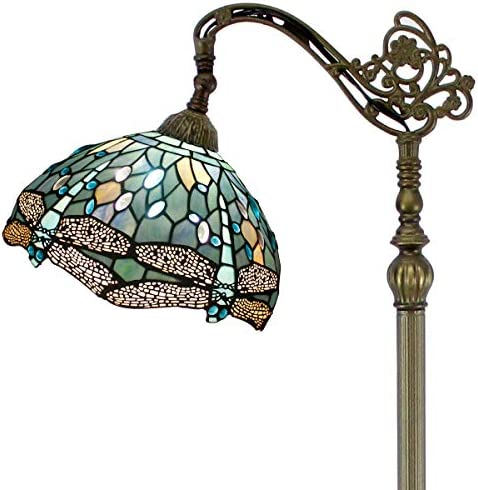 Tiffany Style Reading Floor Lamp Sea Blue Stained Glass Crystal Bead Dragonfly 12 Inch Lampshade 64 Inch Tall Arched Base Antique Light for Living Room Bedroom Coffee Table Gifts S147 WERFACTORY
