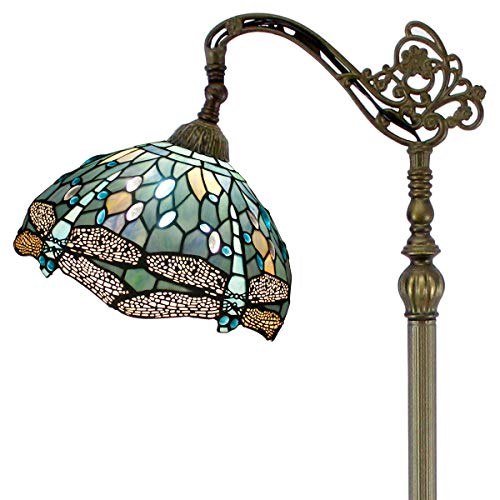 (Tiffany Style Reading Floor Lamp Sea Blue Stained Glass with Crystal Bead Dragonfly Lampshade 64 Inch Tall Antique Arched Base for Bedroom Living Room Lighting Table Set Gifts S147 WERFACTORY)
