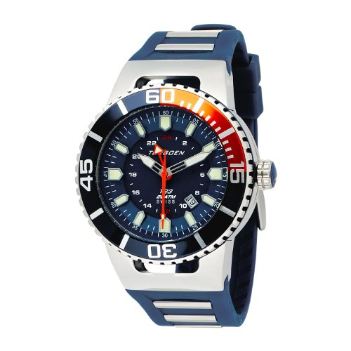 Torgoen Men's Analog Quartz Watch with Blue Dial and Rubber Strap - T23303