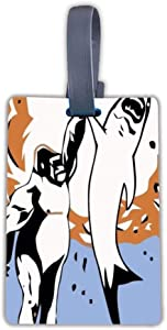 Luggage Tags for Men Women, Suitcase Tag Travel Bag Labels (Gorillas Shark Explosion High Five)