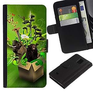 KingStore / Leather Etui en cuir / Samsung Galaxy S5 Mini, SM-G800 / Dise?o Animales Funny Box