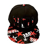 pleasance Men's Solid Hip Hop Snapback Flat Bill Hat Baseball Cap No Black Red