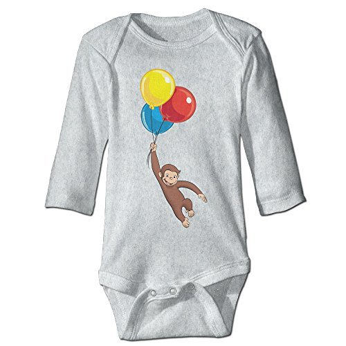 (Baby Infants 100% Cotton Long Sleeve Onesies Toddler Bodysuit Curious George Babysuits Ash Size 18 Months)