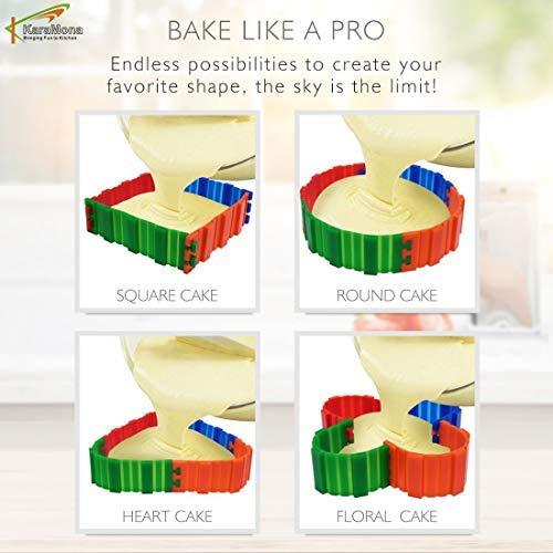 Karamona Silicone Cake Mold Magic Bake Snake 4 Pcs/Silicone Baking Heart Shape Nonstick Flexible Reusable - Snake Cake Molds, Magic Bake Cake Molds, Create Any Shape Heart Square Round Cake Molds by KaraMona (Image #4)