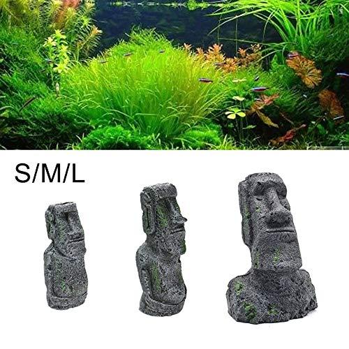856store Easter Island Statue Fish Tank Aquarium Reptile Cage Ornament Resin Craft Decor