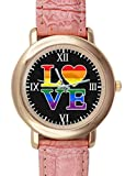 Gay Love Rainbow Heart Gay&Lesbian Pride Custom Pink Leather Watches for Women