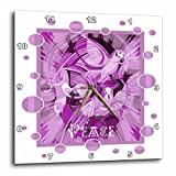 3dRose Taiche - Acrylic Painting - Peace Doves - Dove With Celtic Peace Text In Pink Tones - 10x10 Wall Clock (dpp_273658_1)