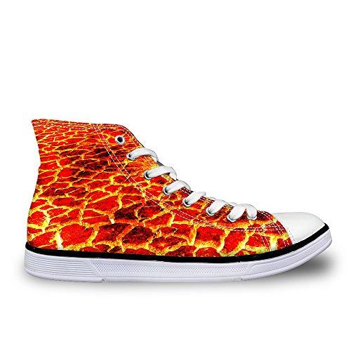 Lifegenius Hoge Top Canvas Schoenen Voor Mannen Creatieve Ontwerpen Print Lace-up Platte Sneakers C0966ak