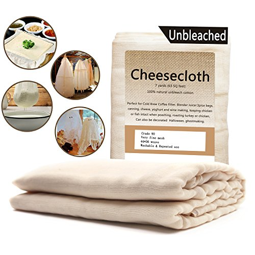 Cheesecloth /63 Sq Feet: Grade 90-100% Unbleached Cotton - Reusable All Purpose Food Strainer & Cold Brew Coffee Filter - Nut Milk Bag (7 Yards) by La Babite (Image #6)