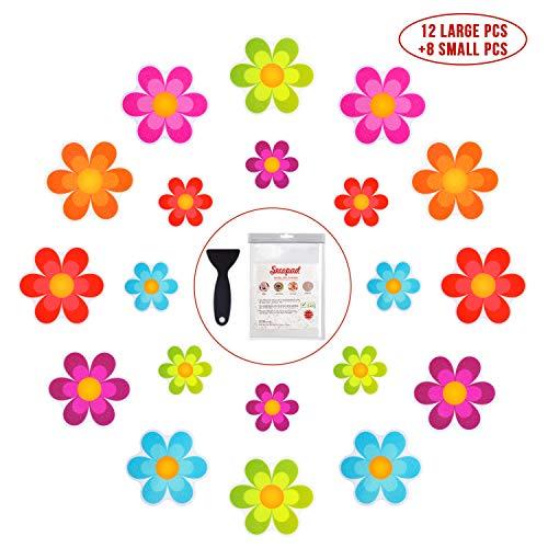 Bathtub Stickers Non-Slip, 20 PCS Safety Shower Treads Adhesive Bright Flowers Appliques with Premium Scraper