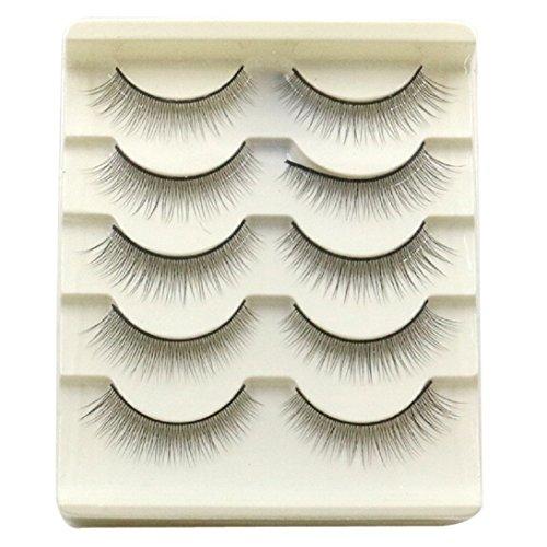 Sunward 5 Pairs Natral Soft Thick Long False Eye Lashes Voluminous HOT Eyelashes (White) ()