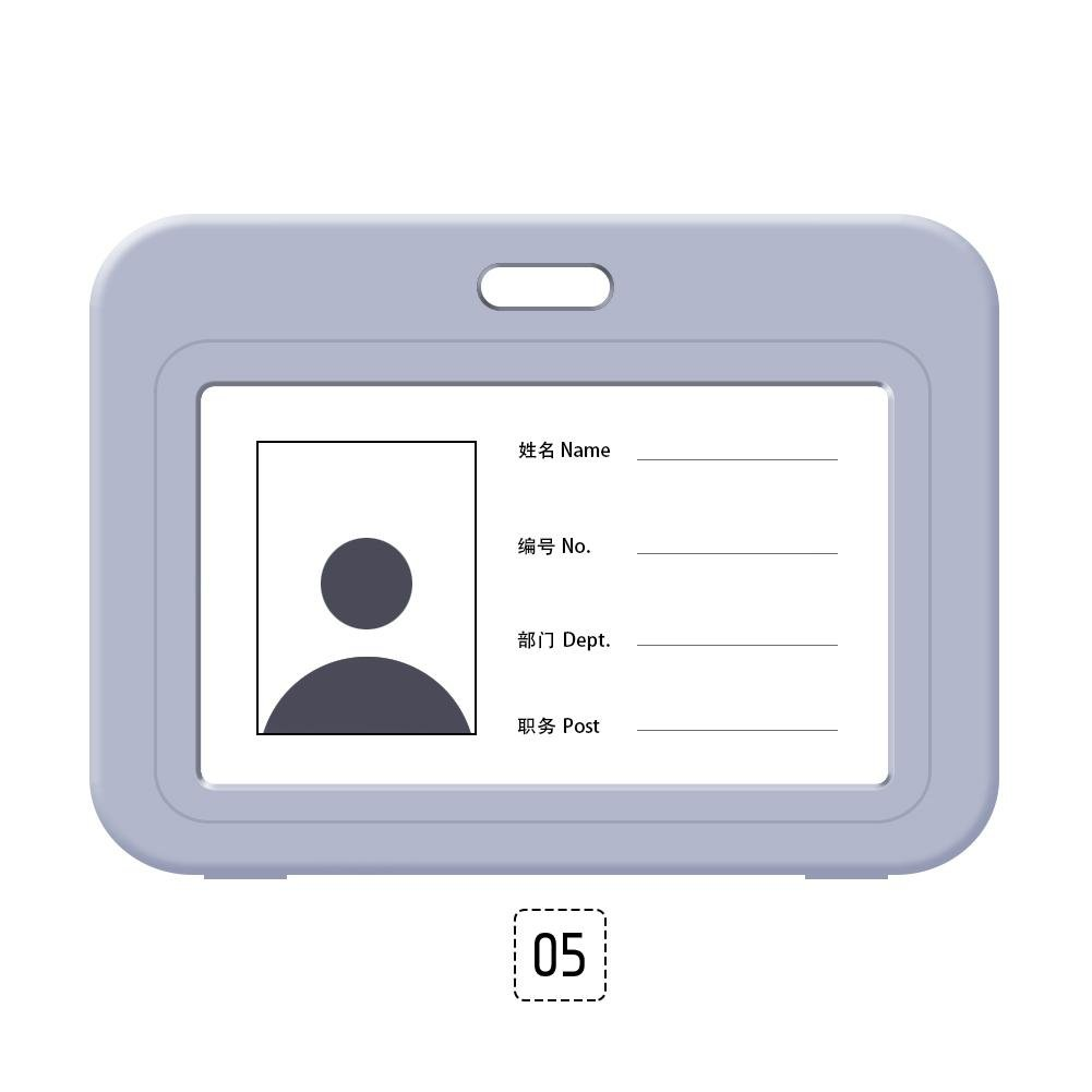 RUNMIND Portable Horizontal Waterproof ID Certificate Card Badge Holder Employee Name Tag Gray