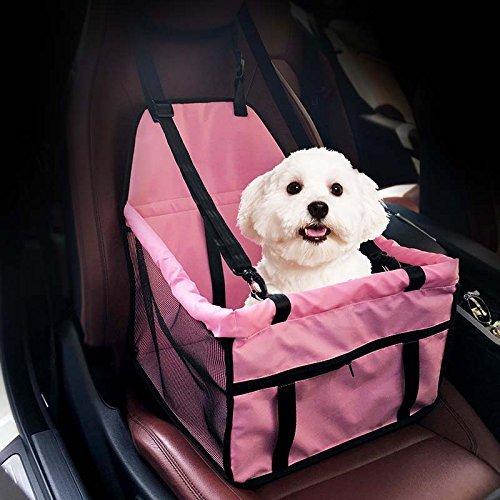 Caidi Asiento de coche plegable para mascotas port/átil peque/ño perro gato coche con correa de seguridad y bolsillo de almacenamiento con cremallera Dos barras de apoyo