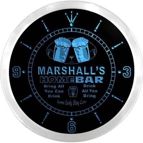 Marshall Led Sign - ncp0285-b MARSHALL'S Home Bar Beer Pub LED Neon Sign Wall Clock
