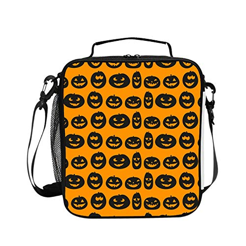 Halloween Face Orange Picnic Storage Bag Lunch Box Food Bag Cooler Warm Pouch Tote Bag for School Work Office