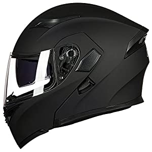 ILM Motorcycle Dual Visor Flip up Modular Full Face Helmet DOT with 6 Colors (L, MATTE BLACK)