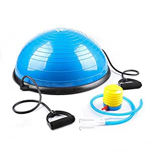 Z ZELUS 23 Inch Large Yoga Balance Ball Trainer with Resistance Bands & Foot Pump for Yoga Fitness Strength Exercise Workout (Blue)