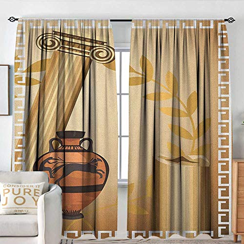 (Sillgt Toga Party Waterproof Window Curtain Antique Greek Columns Vase Olive Branch Hellenic Heritage Icons Machine Washable W 72