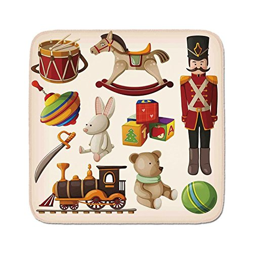 Pads Cushion Area Rug,Kids Decor,Vintage Wooden Toys Decor Rocking Horse Soldier Sword Blocks Doll Drum Train Retro Print Decorative,Easy to Use on Any Surface ()