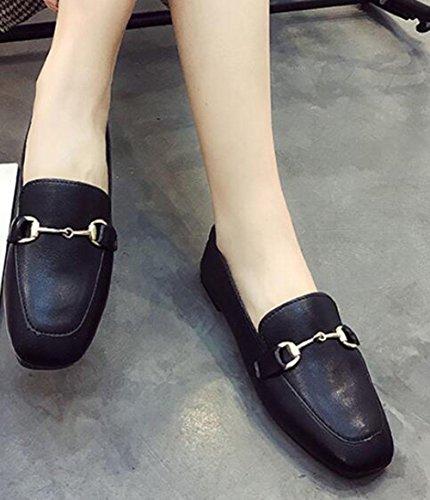 cuadrados UK5 CN38 zapatos EU38 Zapatos 5 negros salvaje negra 5 planos KUKI US7 2 hebilla de IwEOxZq