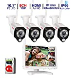 [Audio Recording] Tonton All-in-One Full HD 1080P Security Camera System Wireless with 10.1' IPS Monitor,8CH WiFi NVR,1TB HDD and 4PCS 2.0 MP Outdoor Bullet IP Cameras with PIR Sensor,Plug and Play