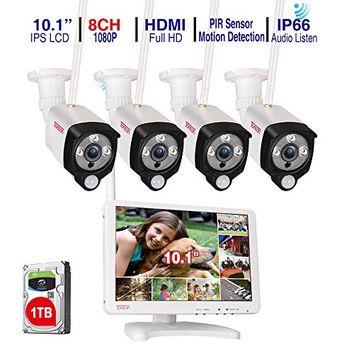 [Audio Recording] Tonton All-in-One Full HD 1080P Security Camera System Wireless with 10.1