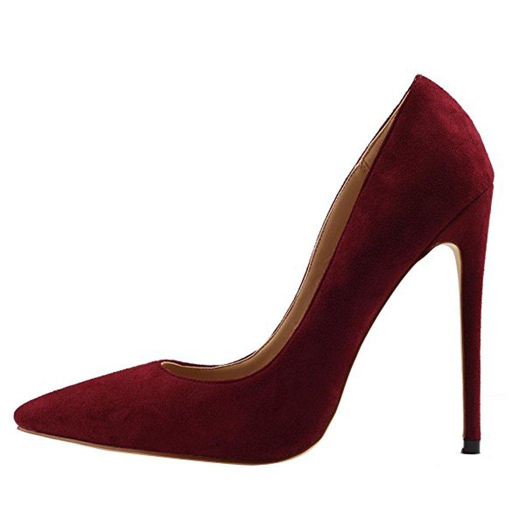 Jushee Damen Sexy Klassische Schwarz Stiletto High Heels Kleid Buuml;ro Pumps45 EU|wein rot02