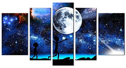 33wallart Modern Wall Art Canvas Print Decor Large 5 Piece Abstract White Moon Fantasy Landscape Picture Framed Artwork Ready to Hang for Living Room Home