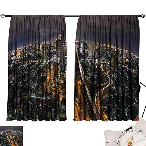 (Jinguizi Privacy Assured Window Treatment Darkening Curtains Urban,Bangkok City South East Asia,Party Curtain for Bedroom W55 x)