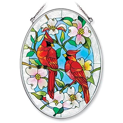 Amia 7559 Hand Painted Glass Suncatcher with Cardinal and Dogwood Design, 5-1/4-Inch by 7-Inch Oval: Home & Kitchen