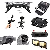 DJI Mavic Air Accessories 8 Pack Combo: 2in1 Handheld Holder & Portable Tripod, Propeller Stabilizers, Higher Landing Skid, Lens Hoold, Lens Cover, Lipo Stafety Bag, Antenna Extender,CNC Thunb Rocker