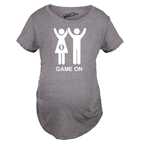 Crazy Dog TShirts - Maternity Game On Couple Tee Expecting Baby Bump Pregnancy Announcement T shirt (Grey) L - damen - L