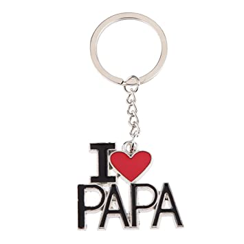 4bbcb672f709 Créatif J aime Pendentif Lettrage Papa Clé De Porte-clés Cadeau De La Chaîne
