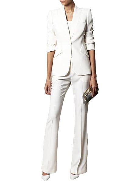 Amazon.com: Peak Lapel Traje de mujer de un botón, traje ...