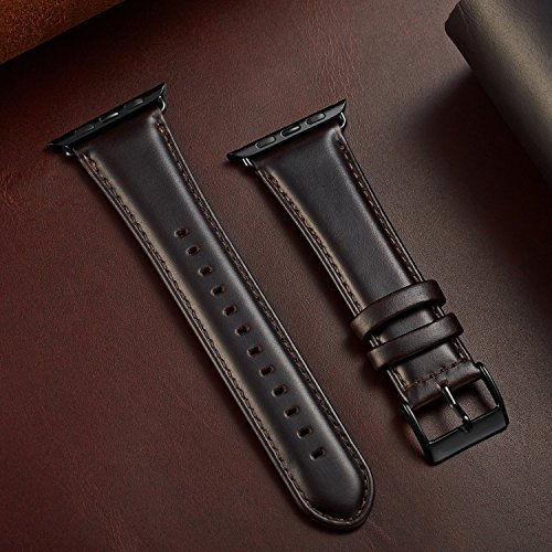 OUHENG Compatible for Apple Watch Band 42mm, Retro Genuine Leather iWatch Strap Replacement Compatible for Apple Watch Series 3 Series 2 Series 1 Sport Edition, Brownish Black Band with Black Adapter by OUHENG (Image #4)