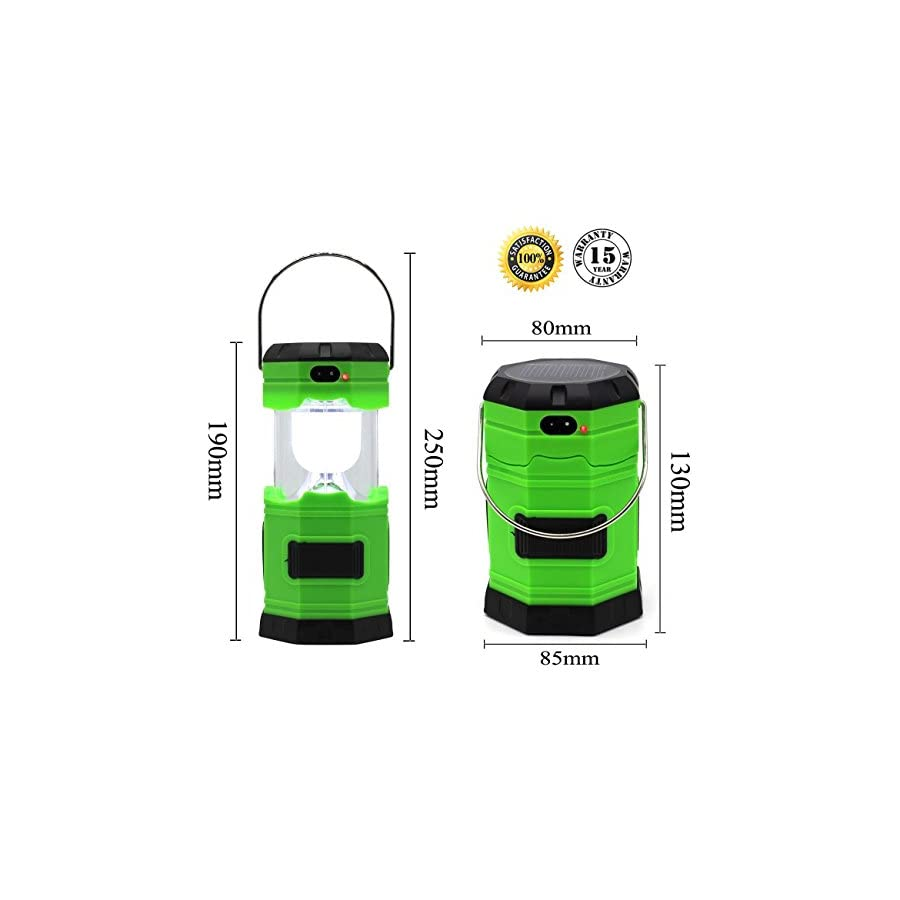 LYSHOP Ultra Bright Solar Rechargeable Collapsible LED Camping Lantern Light 180 Lumen Portable Water Resistant Outdoor Survival Lamp for Hiking Fishing Emergency Outages Green