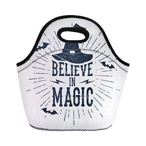 Semtomn Lunch Tote Bag Quote Halloween Label Witch Hat and Believe in Magic Reusable Neoprene Insulated Thermal Outdoor Picnic Lunchbox for Men Women