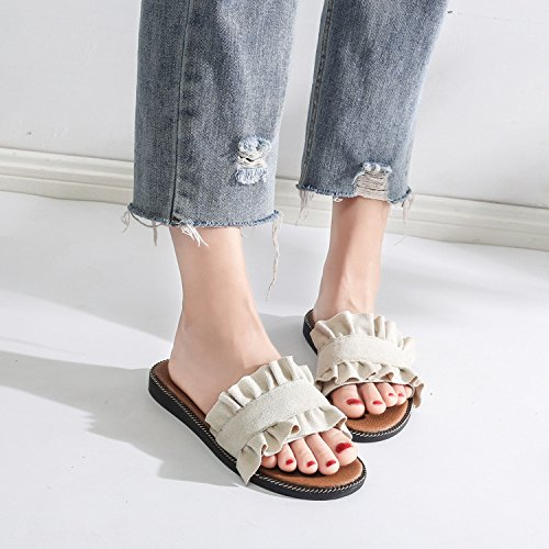 XING Dentelle Tempérament GUANG Plat Chaussures Sandale Été 40 Pantoufles Style Black De 39 White De Coréen Conception Doux Littéraire Champignon avec dII7qrw