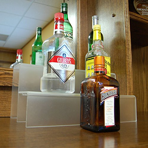 KegWorks 2 Tier Liquor Bottle Step Shelf - Translucent Acylic - 18 Inches Long (Bottle Liquor Shelves)