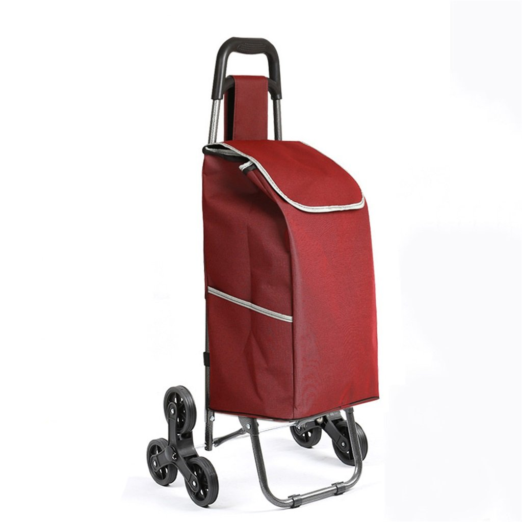 Handcart Trolley shopping cart folding cart portable luggage trolley waterproof bag solid color shopping trolley (Color : Red wine)