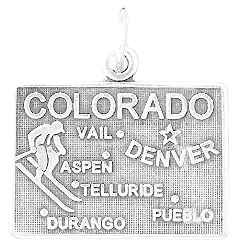 Oxidized Sterling Silver Charm, State of Colorado, 3/4 inch