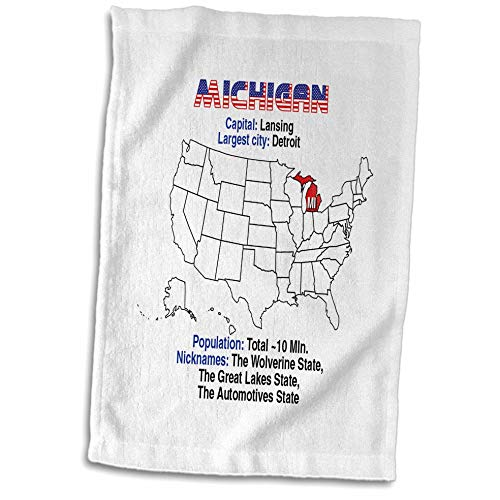3dRose Alexis Design - American States - Michigan State of The USA, American map, Some Facts, Practical info - 15x22 Hand Towel (TWL_307567_1)