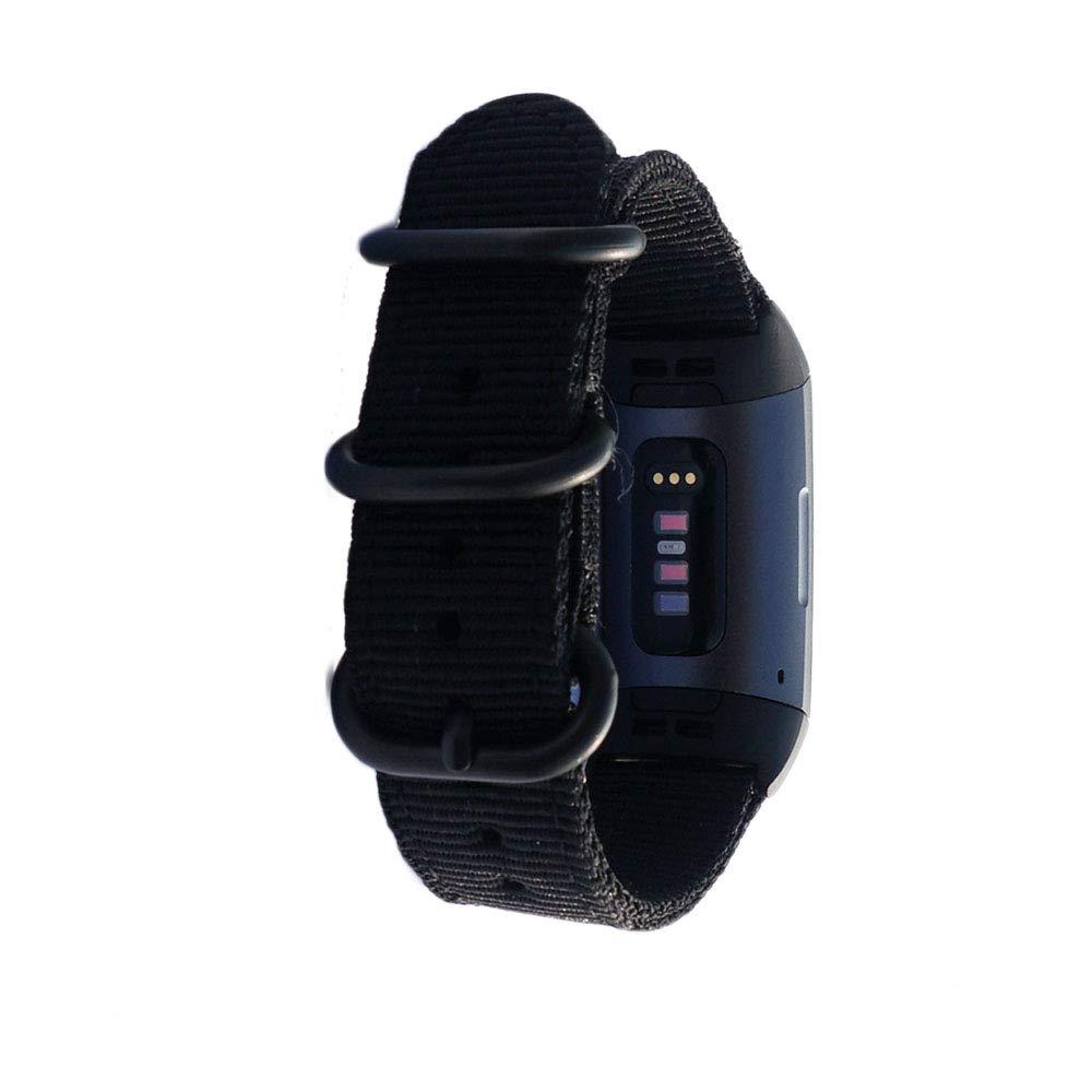 iPartsonline キャンバスナイロン腕時計バンド リストバンド Fitbit Charge 3/Charge 3 SE スポーツストラップブレスレット B07PB5C1X8 ブラック Wrist fits:6.70''-8.90''